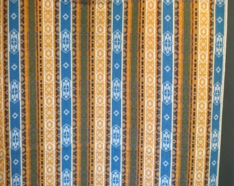 "3 yards vintage tribal aztec ikat southwestern woven fabric in yellow and blue - 46"" wide"