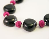 Black and Violet Asian Knot Necklace, OOAK, Free Shipping, Laura Mae Jewelry