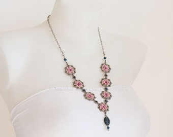 Two Shades Silver Necklace with Pink Beaded Rosettes, Metallic Blue Swarovski Crystal Beads and Oval Fringe Bead on Oval Link Chain S85