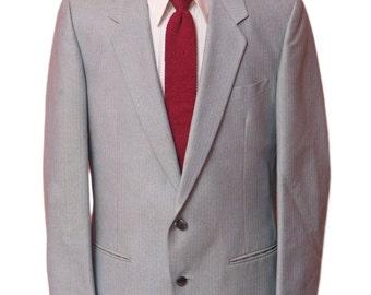 Men's Blazer / Vintage Grey Pinstripe Jacket / Size 40 Medium