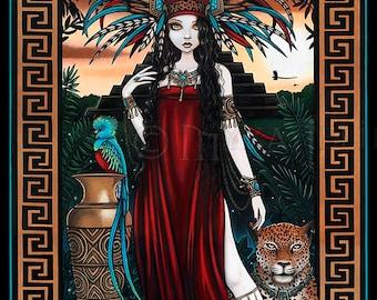 SALE Toltec Jaguar Shaman Quetzal Priestess Zyanya Mesoamerican Fantasy Art Original Painting