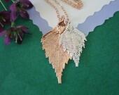 Double Birch Leaf Necklace, Birch Leaf Necklace, Double Leaves, Silver Leaf, Rose Gold Leaf, Real Leaf, DLC34