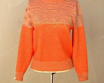 70s space dye sweater / ORANGE gold ANGEL logo knit pullover / womens small medium sm med
