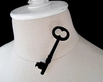 Skeleton Key Silhouette Brooch/Pin - Laser Cut Acrylic - Key 1 (C.A.B. Fayre Original Design)