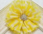 New! 5pcs Handmade soft shabby chiffon flowers--yellow/white (FB1048)