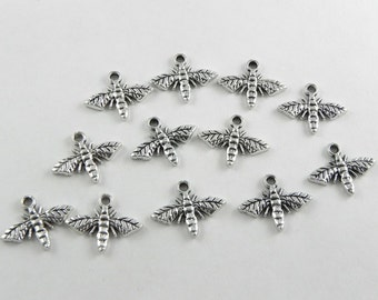 24 Honey Bee Charms - Antiqued Silver - 13x17mm