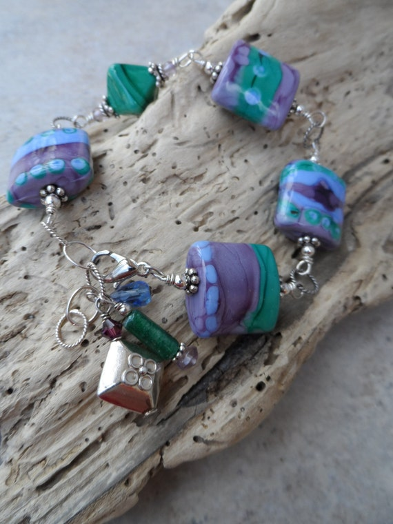 Water Lilies ... Artisan Lampwork and Sterling Silver Wire-Wrapped Boho, Beachy, Bracelet