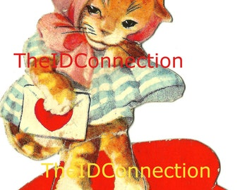 Vintage Valentine Digital Download, Kitten, Feline, Pussy Kitty Cat, Meow, I'm You're Valentine! Day retro 1950's