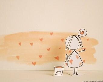 Spreading LOVE - Photo print - Paper diorama - letter size