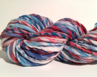 Handspun Yarn - Super Bulky Merino Wool - 80 yds. of Blue, White, Red