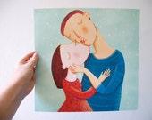 Love  print,  romantic , kiss, hug, wall decor, art print, Valentine's Day gifts, home decor