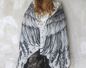 SILK Wings scarf, bohemian bird feathers shawl, white, hand painted, digital print, sarong, perfect Valentine gifts.