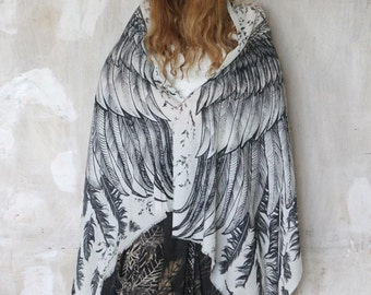 Bird Feather Shawl, Black White Scarf, Angel Wings Scarf, Gift for Mom, Boho Wedding Dress, Silk Scarf, Tribal Shawl, Oversized Wrap