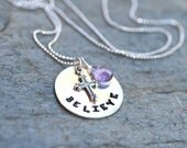 Sterling Silver Metal Stamped Believe Disc With Cross and Amethyst Gemstone Charm Handmade Necklace, Cross Jewelry