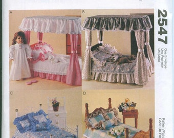 McCalls 2547 American Girl 18 Inch Doll Furniture Sewing Pattern Bedroom Ensemble Kitten Slippers