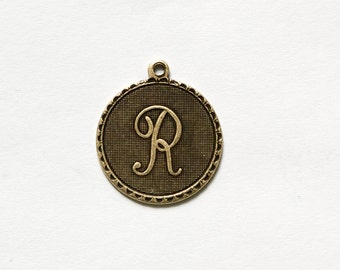 Brass Ox Letter R Initial Charm Drop with Loop (1) chr195R