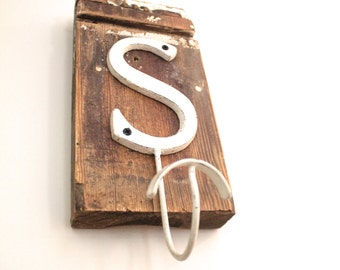 Letter S Shabby Chic Hook on Vintage Trim