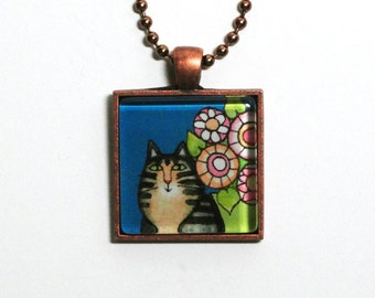Tabby Cat Jewelry/ Maine Coon Kitty/ Glass Art Pendant by Susan Faye