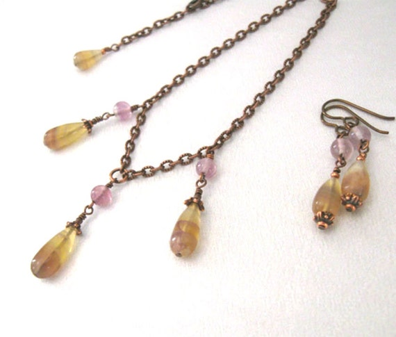 Yellow Fluorite Necklace and Earrings Set in Antique Copper, Niobium French Hooks, One of a Kind Gemstone Jewelry