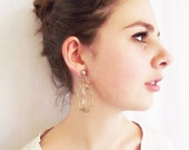 Vintage Birdcage Clip Earrings - Bird Cage Dangling  - Gold Tone