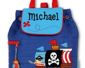Boys Backpack Personalized Pirate Ship Quilted Stephen Joseph Toddler Preschool