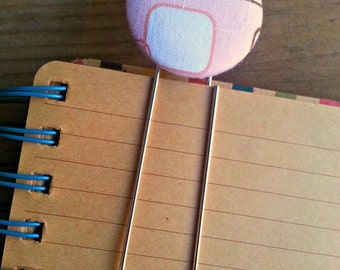 1 Jumbo Light Pink Geometric Fabric Covered Button Bookmarks with Large Paper Clip