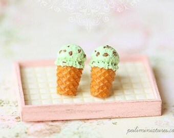 Dessert Earrings - Ice Cream Earrings Stud - Mint Chocolate Chip OR Blue Soda