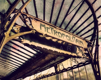 Paris photography, Paris Metro decor, Paris metro sign, Steampunk decor, Paris decor, Paris print, Brown Art nouveau