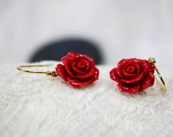 red Earrings, Flower Earrings, Rose Flower Earrings, Flower Earrings, Bridesmaid Jewelry, Wedding Party Gifts, Romantic, Gift for Her