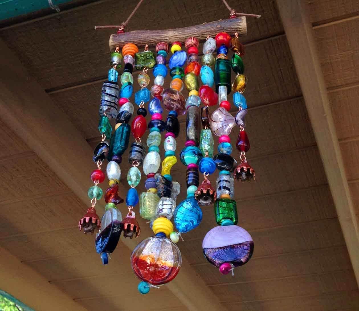 Glass beaded garden art on mesquite for Glass art projects