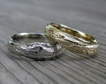 Branch Wedding Band Set: Yellow, White, or Rose Gold; Set of Two Rings