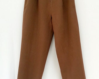 80s CROP PANTS, shetland wool gabardine, petite 10, pleated front, tobacco colour, nordstroms brand, made in japan, a classic