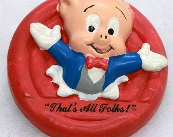 FREE SHIPPING 1988 Porky Pig Refrigerator Magnet