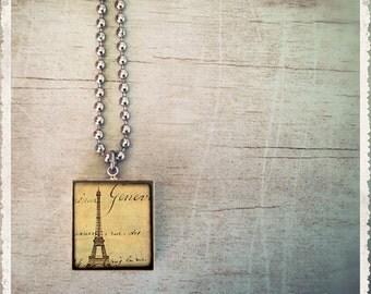 Scrabble Tile Jewelry Necklace - Vintage Paris Postcard  - Scrabble Pendant Charm - Customize
