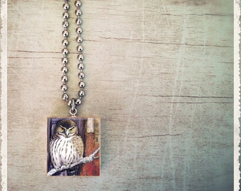 Scrabble Pendant Charm - Owl Collage - Scrabble Game Tile Jewelry - Customize - Choose Your Style