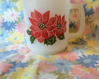 Reduced (See Details) Glasbake Poinsettia Mug