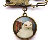 Snowy Owl Hare Pin Brooch (TB04)