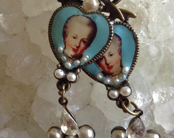 Lilygrace Marie Antoinette Heart Cameo Earrings with Freshwater Seed Pearls, Glass Pearls and Vintage Rhinestones