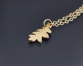 14K Gold Oak Leaf Necklace,  14k solid gold pendant, gold botanical jewelry