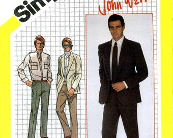 Simplicity 9791 John Weitz Suit Jacket Pants Chest 42 Waist 36 Uncut Vintage Sewing Pattern 1982