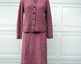 Vintage 60s Hand Knit 2 pc Dress Rose Pink Nubby M to L  - Mint Condition