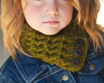 Girls Scarf Boys Scarf Girls Scarflette Boys Scarflette Kids Scarf Kids Scarflette Olive Green Scarf Green Scarflette Wood Button Cowl