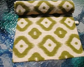 Burlap Table Runner Natural Green  Long Wide Geometric  Design Table Topper Lined