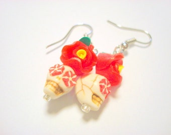 Tiny Red Day of the Dead Sugar Skull and Rose Earrings Small