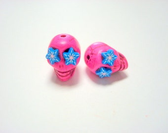 Pink and Turquoise Star Flower Eyes in Day of The Dead Sugar Skull Beads-12mm
