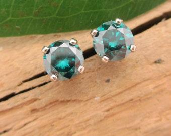 Teal Blue Diamond Earrings in 14k White Gold, 4.3mm Studs .64TCW