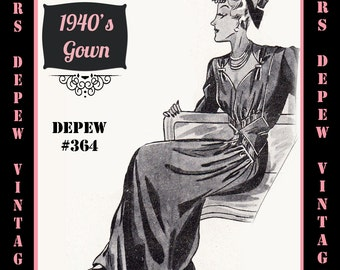 Vintage Sewing Pattern 1940's Draped Evening or Wedding Gown in Any Size Depew 364 - PLUS Size Included -INSTANT DOWNLOAD-