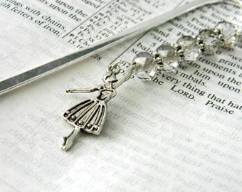 Ballerina Bookmark with Smoky Quartz Glass Beads Shepherd Hook Steel Bookmark Silver Color