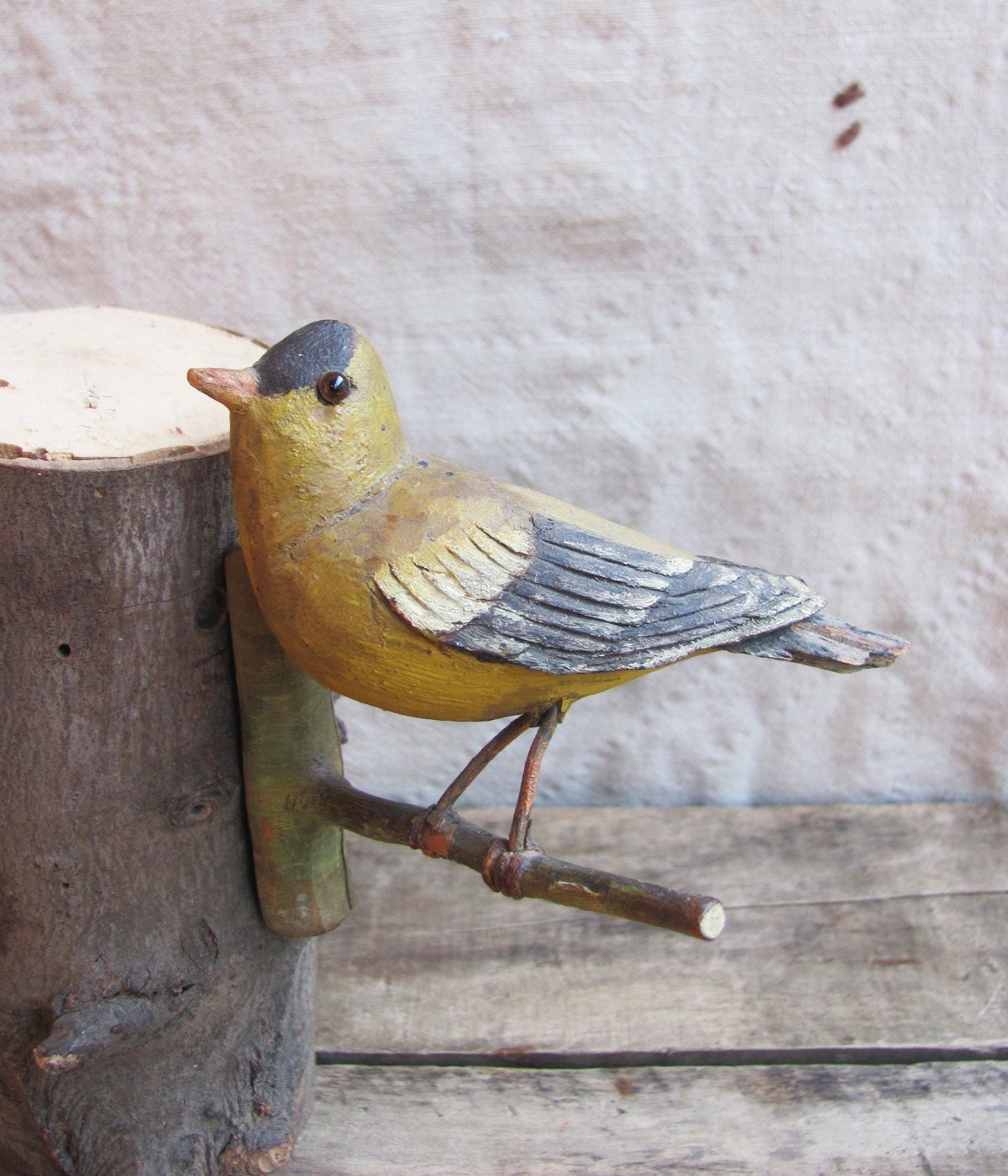 Vintage C 1940s Folk Art Goldfinch Hand Carved And Painted