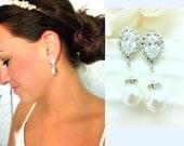Pearl Bridal Earrings // Hollywood Bride // Vintage Rhinestone Earrings // Wedding // Cubic Zirconia // Swarovski Pearl Jewelry